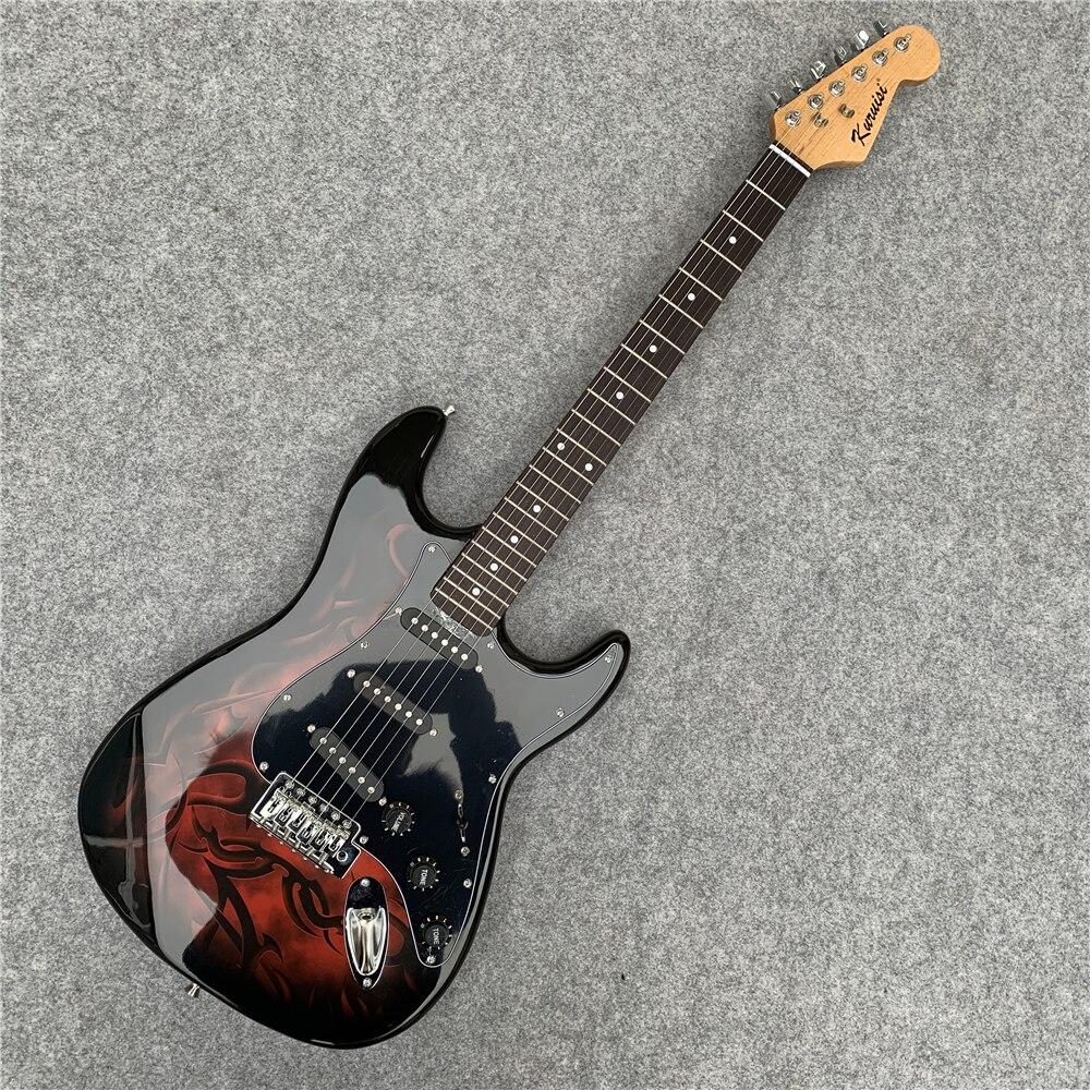 En stock, livraison rapide. Guitare électrique à flamme rouge guitare électrique à feu, pratique de la guitare, donne des cadeaux à des amis. Livraison gratuite.