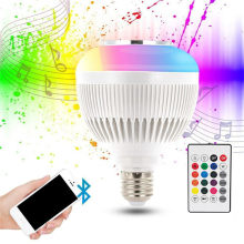 RGB Bluetooth Speaker Bulb Light 12W Music Playing Dimmable Wireless LED Lamp with 24 Keys Remote Control(China)