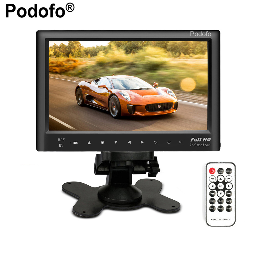Podofo Bluetooth 7 Car Rear View Monitor Slim Dashboard Screen, Car Video Audio FM Transmitter / MP5 / USB / Micro SD Card Slot niorfnio portable 0 6w fm transmitter mp3 broadcast radio transmitter for car meeting tour guide y4409b