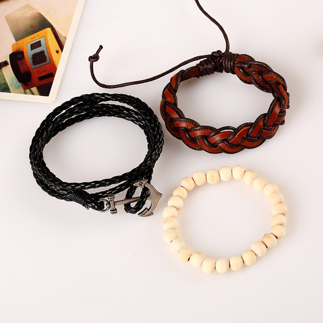 Handmade Beaded Bracelet Set with Handmade Vintage Leather Anchor Bracelet and Braided Rope