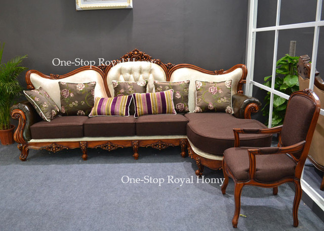 Antique Sectional Sofa Set Wooden Corner Sofas Solid Wood Frame