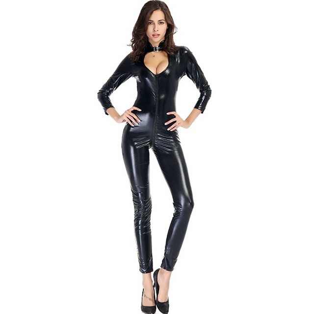 16508ad90d Women Zipper Bodysuits Front Cut Out Faux Leather Jumpsuits Long Sleeves  Clubwear Skinny Bodycon W880467