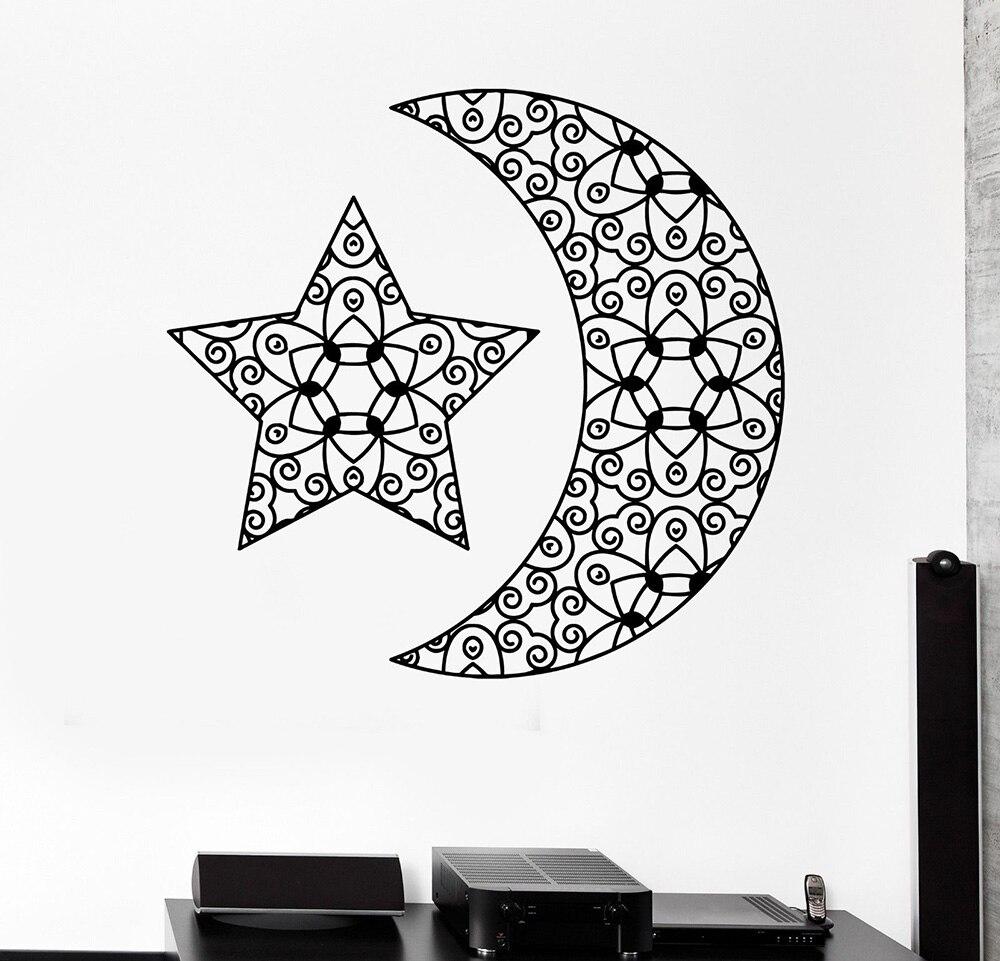Agressief Abstract Moon Star Vinyl Decal Muur Stickers Woonkamer Slaapkamer Versieren Ruimte Ornament Tribal Boho Muurtattoo Muur Poster Z976