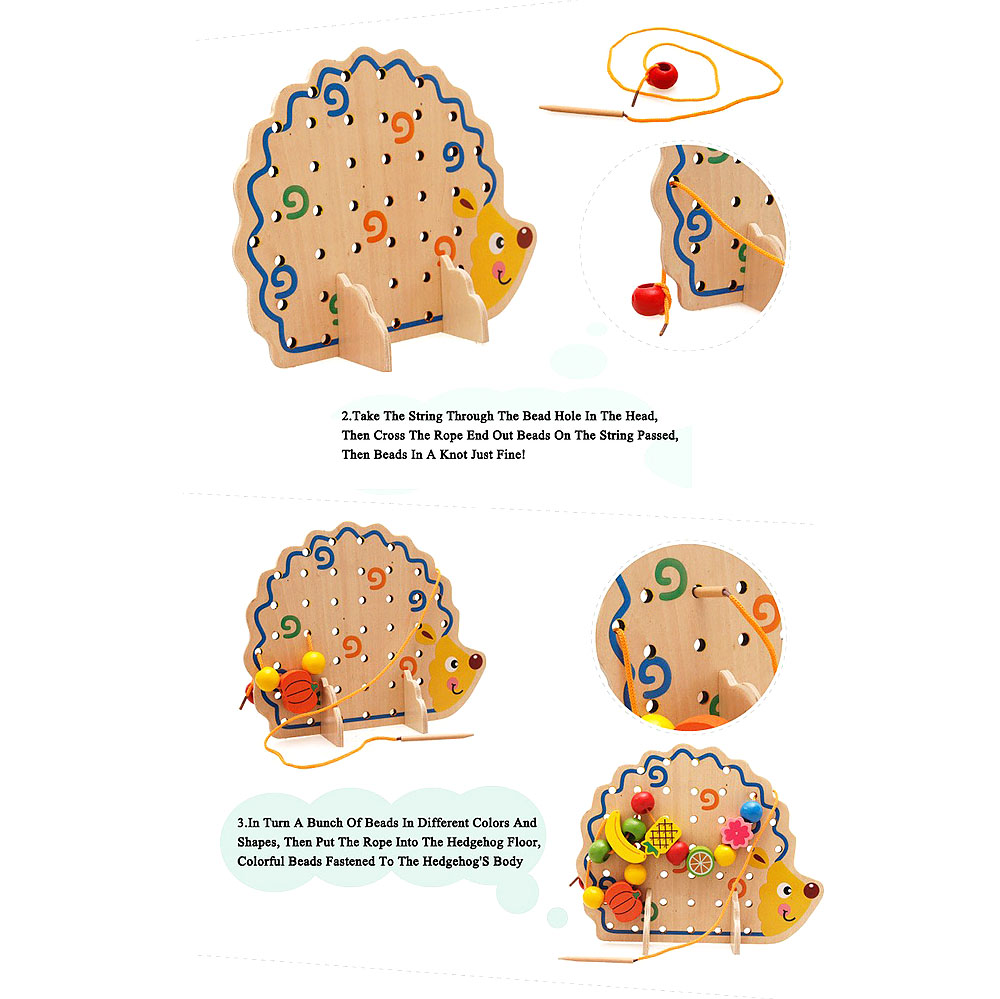 1 Set Creative Useful Wood Hedgehog Fruit Vegetable Beads Building Thread Toy for Kids