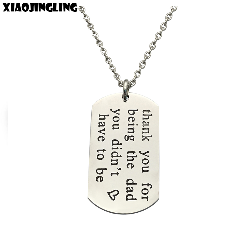 XIAOJINGLING Trendy Stainless Steel Pendant Necklace Personalized Square Long Necklace Fathers Day/Birthday Gift Accessories