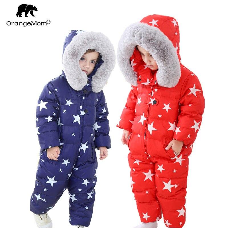 2019 novo inverno macacões outerwear 4 cores crianças jaqueta de inverno para meninas snowsuit, para baixo meninos casaco 1-4 anos macacão bebê quente