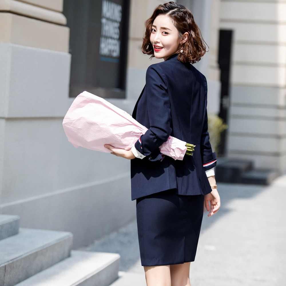 女性のスカートスーツとポケットエレガントなストライプスリムフィットブレザー + スカート 2 個、正式なキャリアスカートスーツオフィス服 ow0520