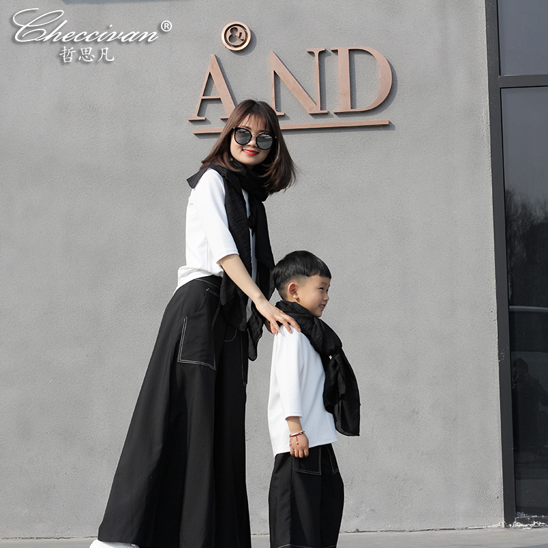 Checcivan Family Matching Wide Leg Pants 2017 Spring Mother and Children Clothes Boys Long Loose Trousers Girls Wide Leg Pants checcivan family summer t shirts mother