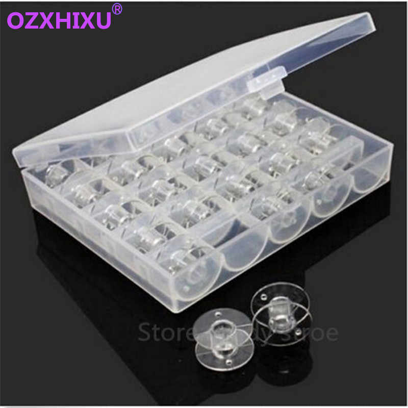 1set/lot Clear Plastic 25 Bobbins Sewing Machine Spools With Thread Storage Case Box For Home Sewing Accessories Sewing Tools