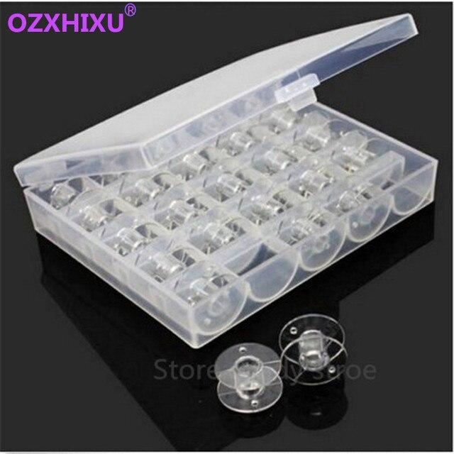 1 set/partij Clear Plastic 25 Klossen Naaimachine Spoelen Met Draad Storage Case Box Voor Thuis Naaien Accessoires Naaien Gereedschap