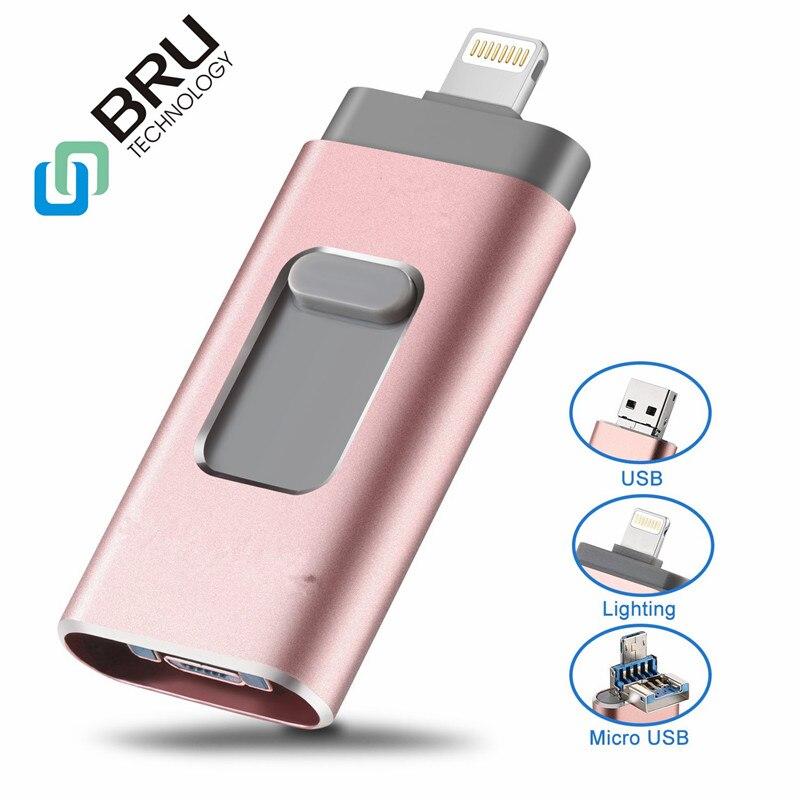 BRU USB Flash Drive For IPhone XR/8/7/7Plus/6/6s/5/SE Ipad External Storage 8G16G32G64G128GB256GB Pendrive OTG USB Memory Stick