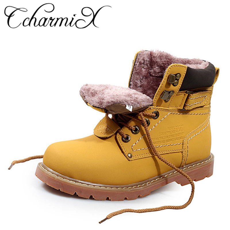 CcharmiX Men Work Boots Leather Unisex Ankle Snow Boots Autumn Winter Warm Casual Boots Waterproof Male Tooling Boots Big Size цена
