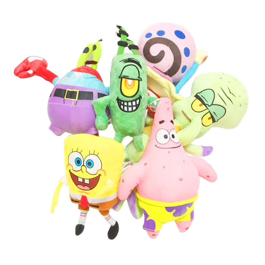 6pcs/set SpongeBob Plush Toys Kids Cartoon Movie Characters Christmas Birthday Gift Toys Stuffed & Plush Animals 6pcs set movie trolls 4 3inch height figures toys cake topper kids birthday gift children funny toys