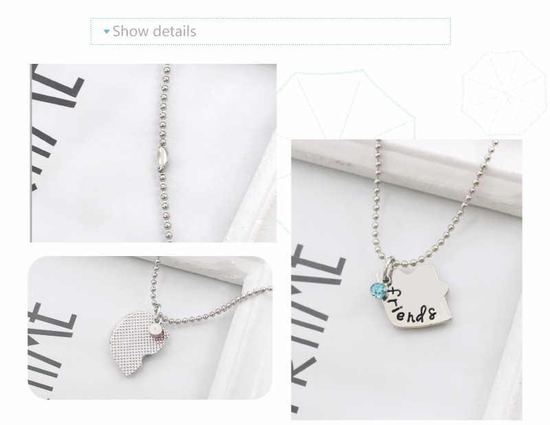 Best Friend Necklace Women Crystal Heart Tai Chi Crown Best Friends Forever Necklaces Pendants Friendship BFF Jewelry Collier 6