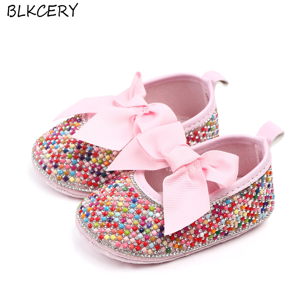 Famous Brand Baby Girl Shoes Pink Bling Rhinestone Newborn Infant Footwear Toddler Mary Jane Flats for 1 Year Christian Gifts