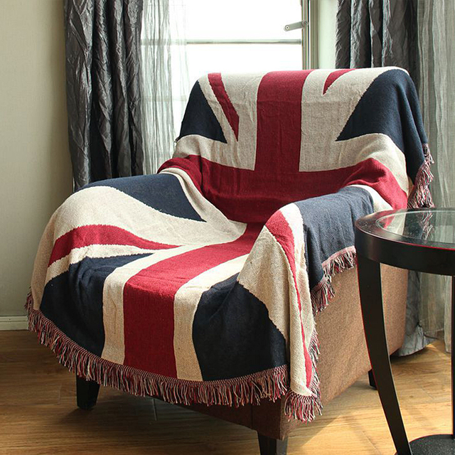Cotton Knitted Children Throw Blanket Office Home Hotel Travel Sofa Bed Cover Cushion Union Jack Tels