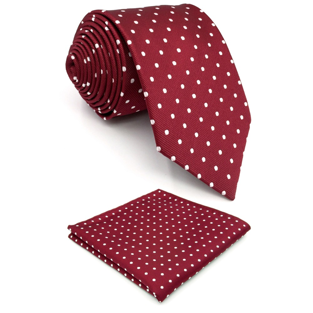 S15 Dots Maroon Red White Ties For Men Silk Wedding Necktie Extra Long 63