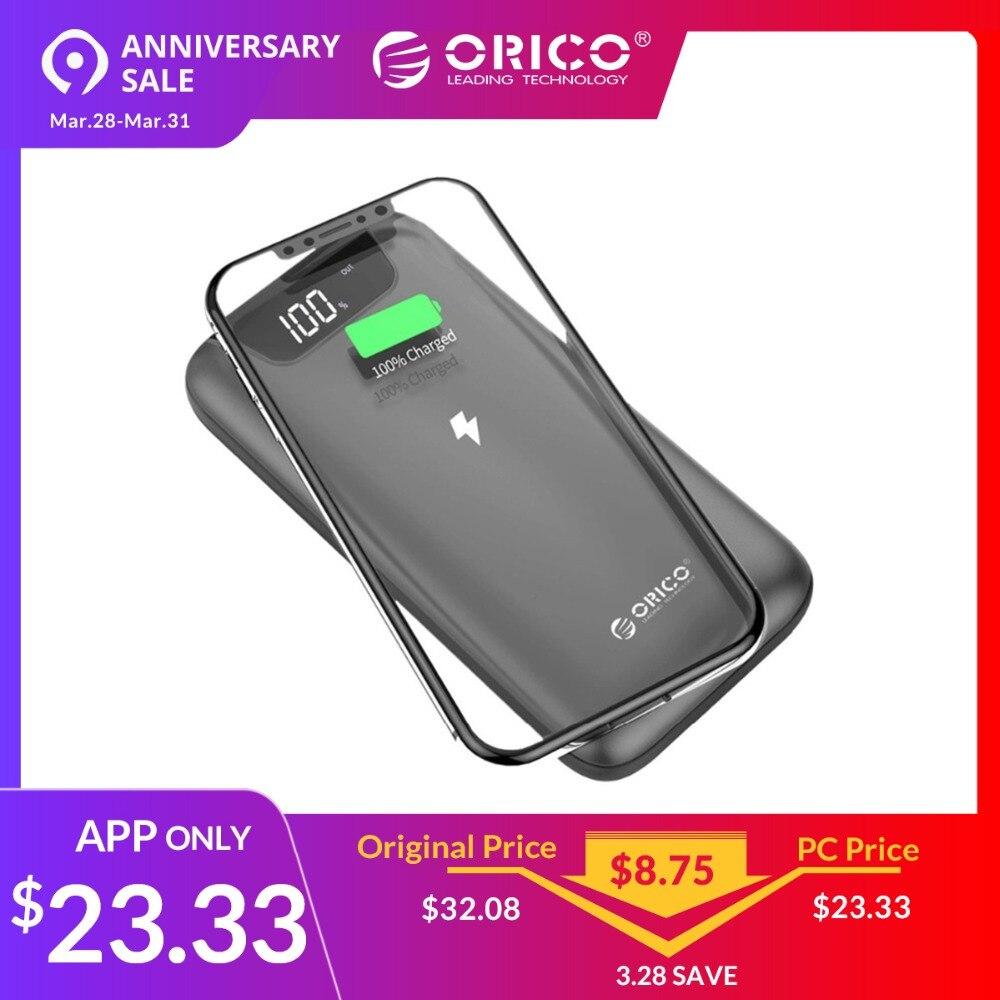 ORICO WR10 10000 mah Мощность банк с Беспроводной зарядки 2A Dual USB Мощность банк с зарядное устройство для lcd дисплея для iPhone мобильный телефон