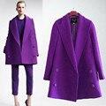 XL-5XL 2016 la moda de invierno de las mujeres slim fit gabardina larga cruzado/de Las Mujeres capa de la chaqueta de color puro larga floja y cómoda