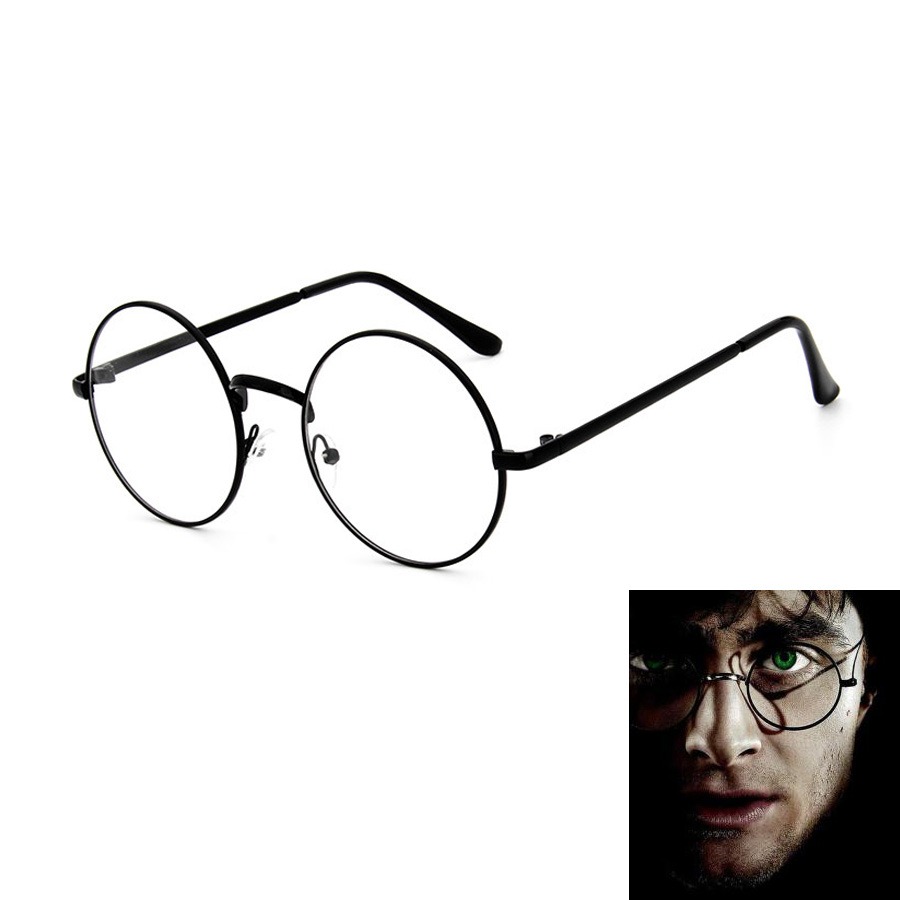 Biamoxer Adult Harry Potter Cosplay Round Frame Glasses Black Frame Round Glasses For Fans For Cosplayer