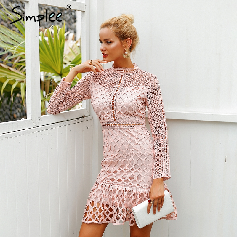 371be35622ea Simplee Elegant hollow out ruffle lace dress Women vintage long sleeve slim short  dress Sexy christmas