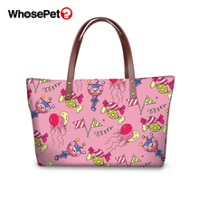 WHOSEPET Cartoon Clown Prints Handbags Women Bags Designer Brand Totes Casual Large Capacity Shoulder Cross Body
