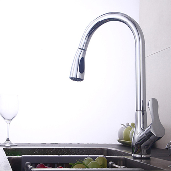 kitchen pull out faucet chrome silver swivel basin Faucet, Hot and cold Mixer tap, Single Hole 360 Rotate Copper crane faucet