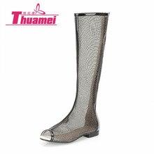 Новые женские модные сандалии на плоской подошве, женские сандалии до колена на плоской подошве, весенне-летняя обувь абрикосового цвета, лучшая женская обувь# Y0736463F