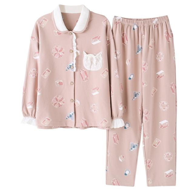 5e9f4a344f6d Otoño Invierno algodón caliente encaje pijama mujer establece manga larga  Turn-down Collar femenino cómodo