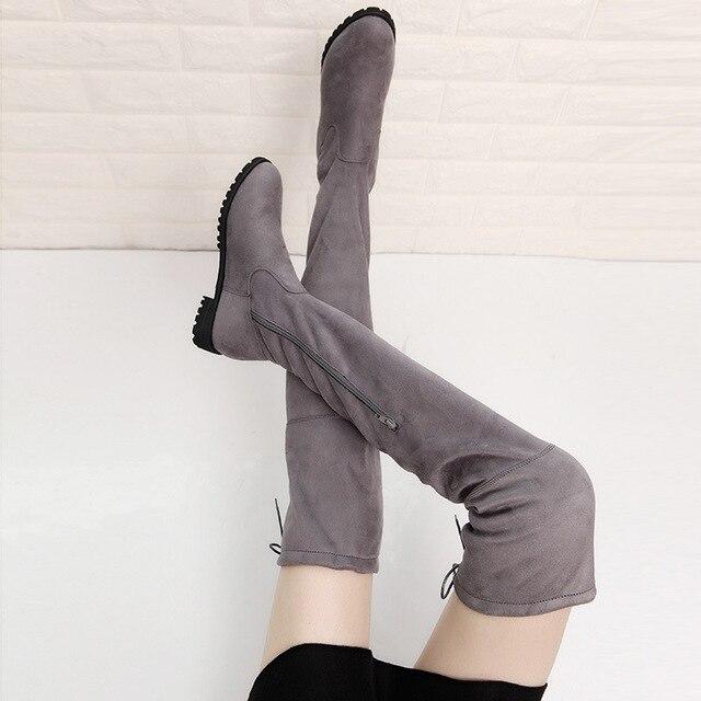 2018 Sapatos Da Moda Botas de Inverno Over-the-Knee Outono Trecho Cinta Botas Manter Quente Botas Altas Das Mulheres Rodada pele Para Baixo Senhoras do dedo do pé