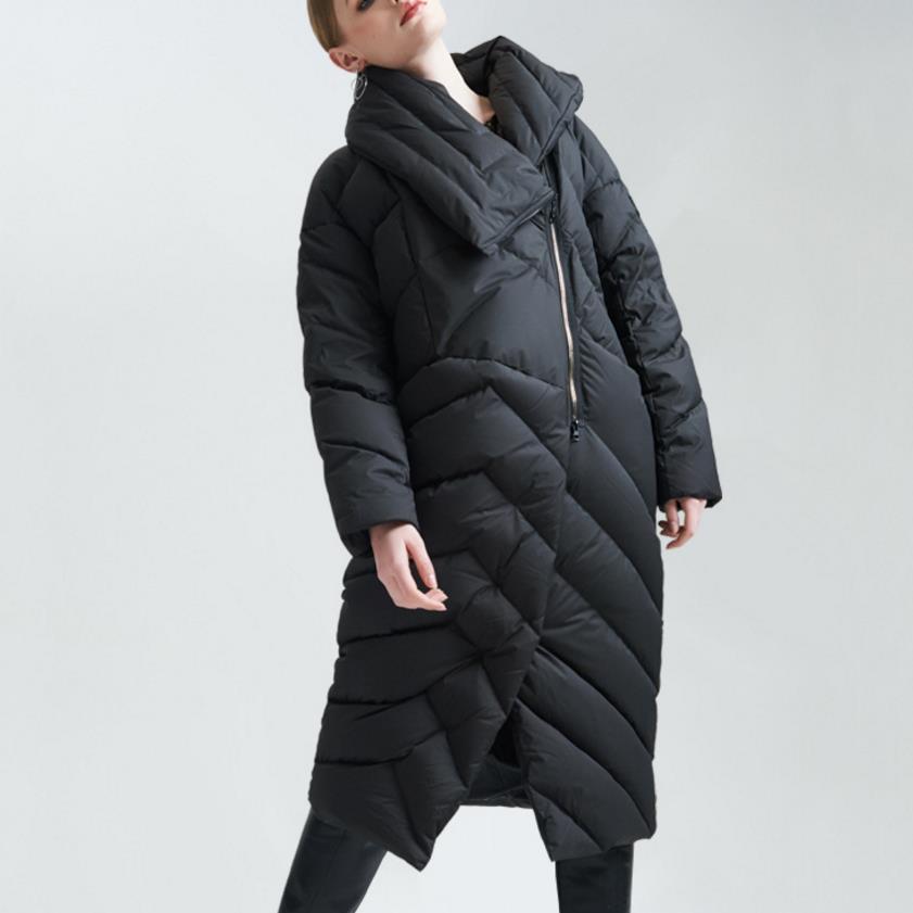 2018 Women Winter fashion   Down     Coat   X-Long Asymmetric big laple white   down   Jacket Plus Size 3XL