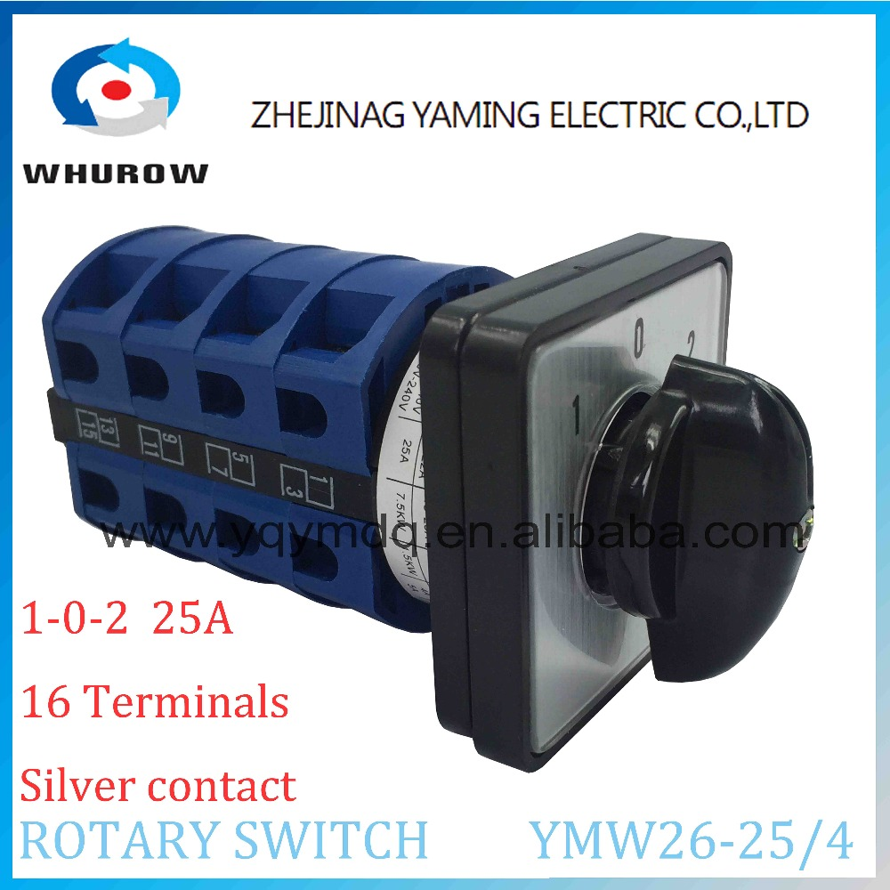 LW26 YMW26-25/4 Rotary switch knob 3 position 1-0-2 High quality changeover cam switch 25A 4 phase 16 terminals silver contact 660v ui 10a ith 8 terminals rotary cam universal changeover combination switch