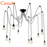 Modern Nordic Retro Edison Bulb Light Chandelier Vintage Loft Antique Adjustable DIY E27 Art Spider Pendant