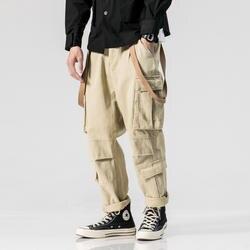 Мужской широкие брюки комбинезоны бегунов свободные спортивные штаны Для мужчин Multi-карман лента Повседневное Cargo Pant уличной хип-хоп