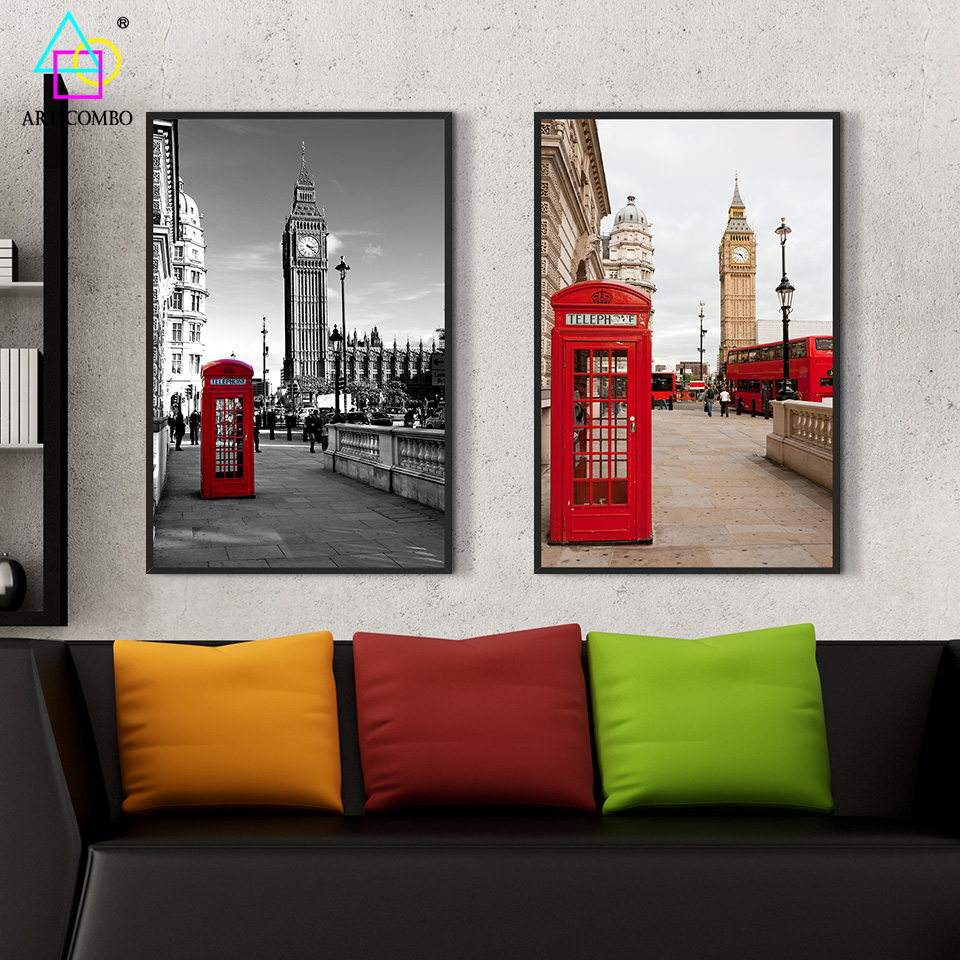 Modern canvas painting white black famous building and big for Black and white dining room wall art