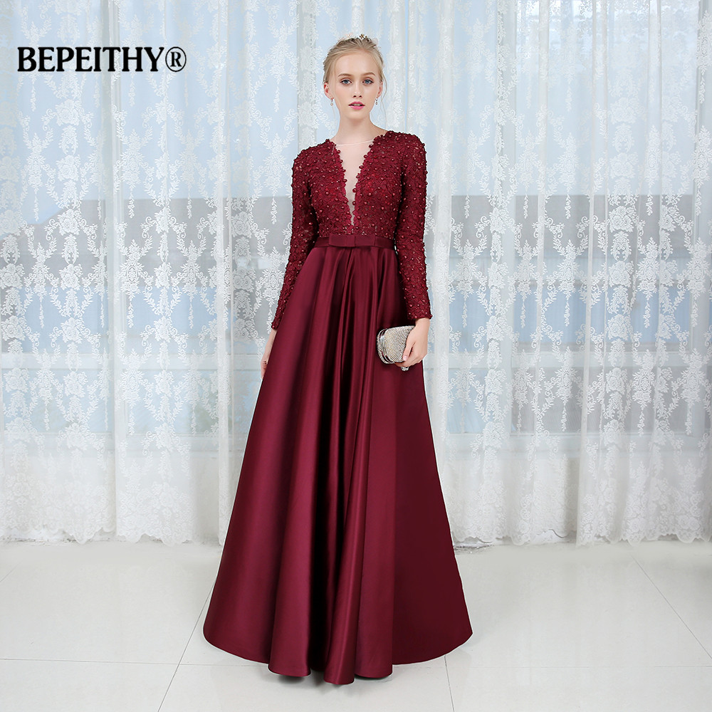 New Arrival Full Sleeves Long Evening Dress Party Elegant Deep V neck 2019 Lace Sexy Backless
