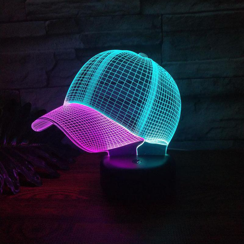 Cap Led 3d Colorful Nightlight Creative Visual Touch Charging Christmas Decorative Lights 7 Color Change Led Lamp
