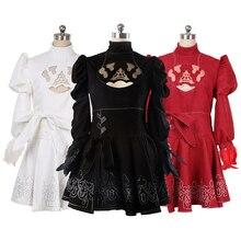 Аниме Косплей NieR: Automata 2B платье 2b Косплей Костюм Черный Белый Красный версия на заказ