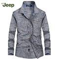 """АФН JEEP 2016 brand new мужчины """"s рубашка мода Тонкий рубашку с длинными рукавами случайные удобные однобортный мужские рубашки 98"""