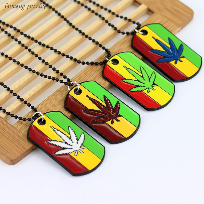 Hot Sale New Arrivals Statement 5 Color Weed Reggae Pendants Chain Metal Alloy Necklaces & Pendants Free Shipping