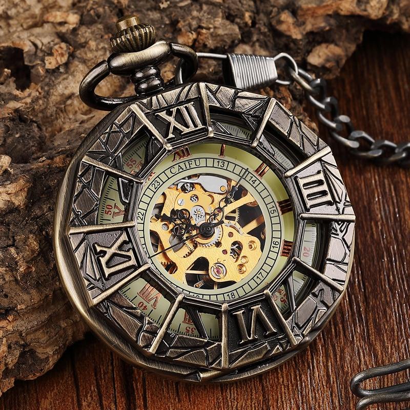 Aranha do Vintage Relógio de Bolso Relógio de Pulso Relojes de Bolsillo Homem Steampunk Homens Mecânico Design Legal Corrente Fob Retro Bolso Masculino Oco