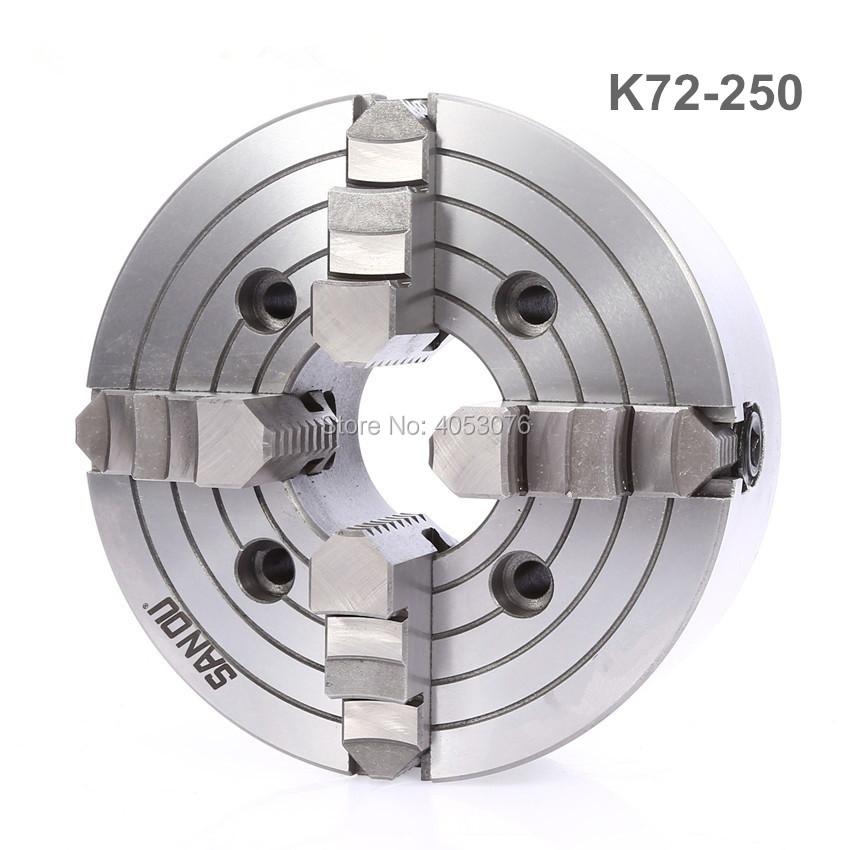 K72-250 4 jaw chuck/250MM manual lathe chuck/4-Jaw Independent Chuck 4 jaw lathe chuck independent chuck k72 100 100mm manual m6x3 for welding positioner turntable1pk accessories for lathe
