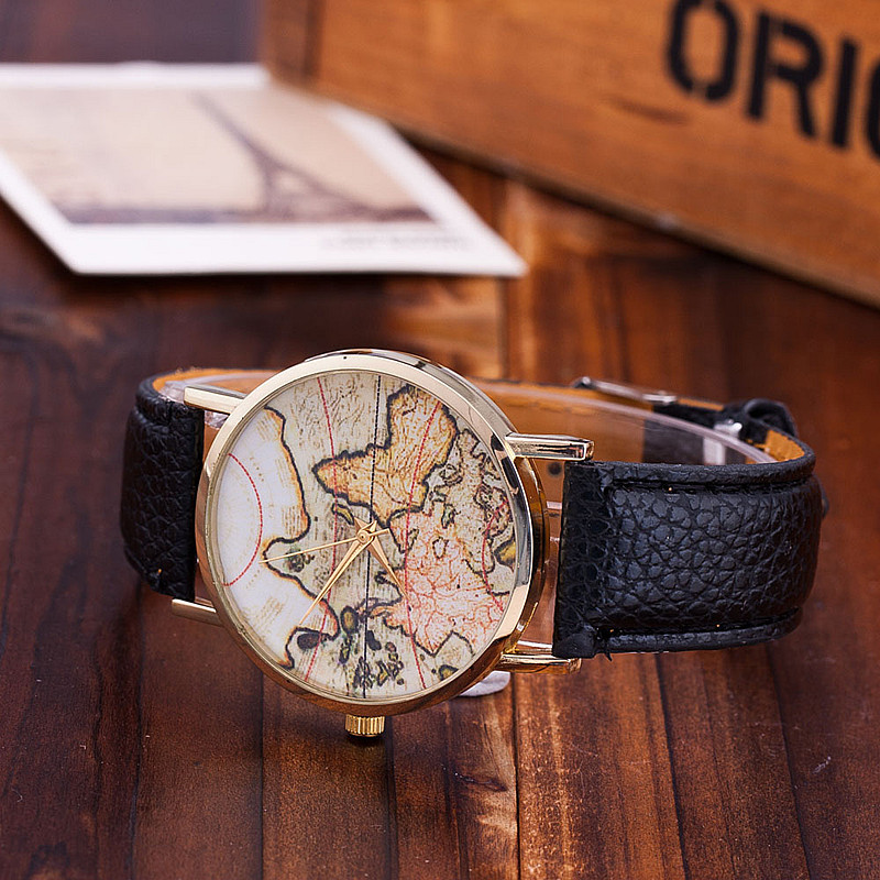 Vansvar brand fashion world map watch casual women dress watches vansvar brand fashion world map watch casual women dress watches quartz watches relogio feminino gift 1133 in womens watches from watches on aliexpress sciox Choice Image