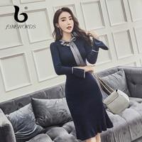 FINEWORDS Bow Knitted Dress Women Slim Casual Autumn Winter Long Sleeve Club Bodycon Dress Female Korean Sweater Dresses Vestido