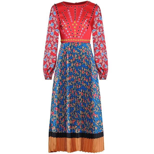 אדום RoosaRosee נשים עגול צווארון ארוך שרוול הדפסת בציר כבד מסמרת קפלים אמצע ארוך צבע להיט שמלת סגנון חדש אביב 2019