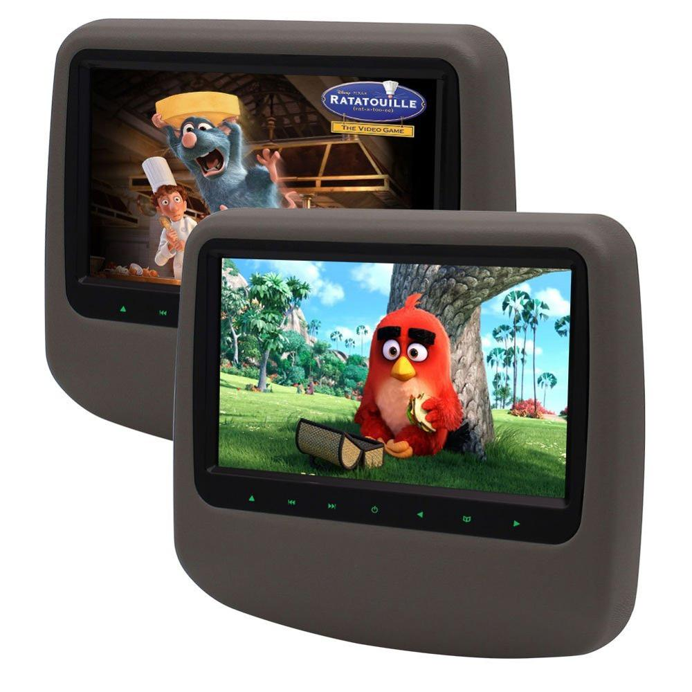 Eincar 2 Digital TFT LCD Screen Adjustable Car pillow DVD CD Player Headrest Monitor 32 Bits Games Disc Touch Key Remote Control