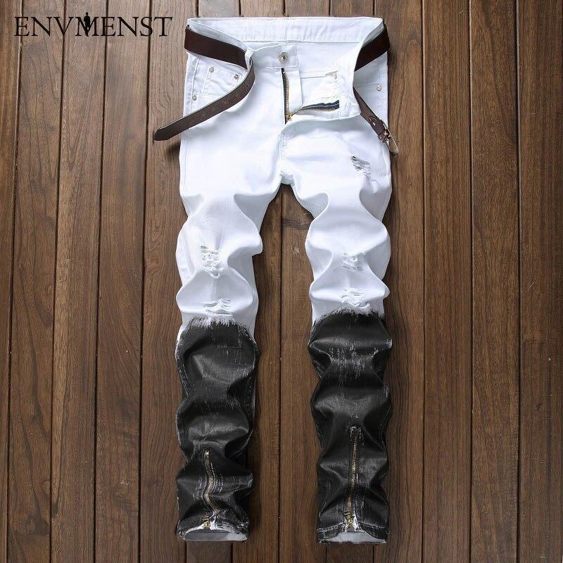 Straight Paint Motorcycle Jeans Fashion Men's Printed Jeans Famous Brand Patchwork Hip Hop Denim Pants Color Jeans Hombre