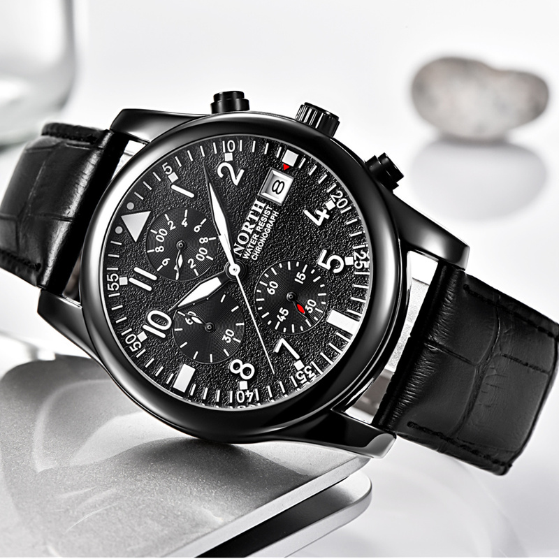NORTH Top Brand Luxury Wrist Watch Men Watch Chronograph Sport Men's Watch Auto Date Waterproof Watches Clock saat reloj hombre цена