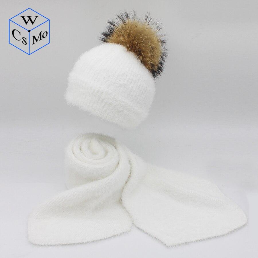 Zielsetzung Frauen Winter Pom Pom Hut Und Schal Set Warme Faux Nerz Pelz Gestrickte Hut Schal Für Mädchen Hohe Qualität Pelz Pompoms Hüte Dame Beanies Verkaufspreis