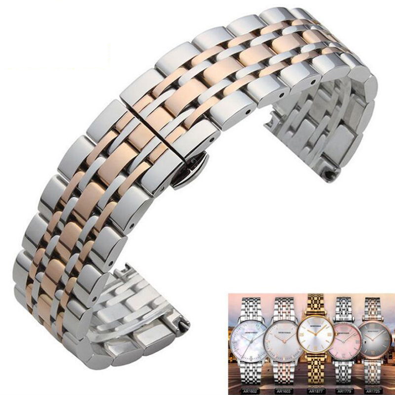 Metal Stainless Steel Watch Band Wrist Strap 16mm 18mm 20mm 22mm Replacement Butterfly Clasp Bracelet Men Women Black Rose Gold 16mm 18mm 20mm 22mm ceramic and stainless steel watchband bracelet rose gold white watch band watch strap butterfly buckle clasp